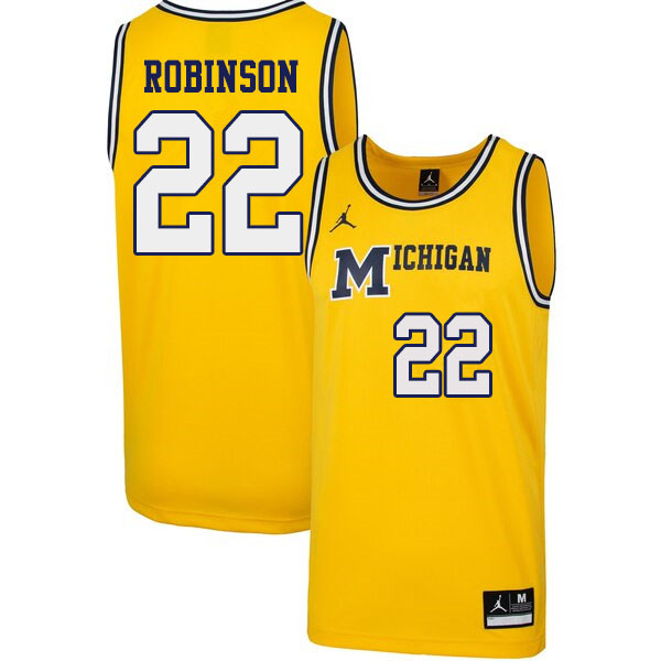 Men 22 Duncan Robinson Michigan Wolverines 1989 Retro College Basketball Jerseys Sale Yellow College Basketball Jersey Basketball Jersey College Basketball