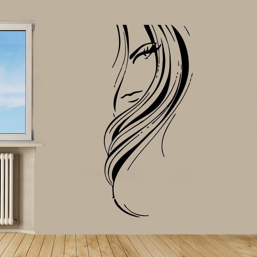 Beauty Salon Decor Woman Face Sticker Vinyl Wall Art Overstock
