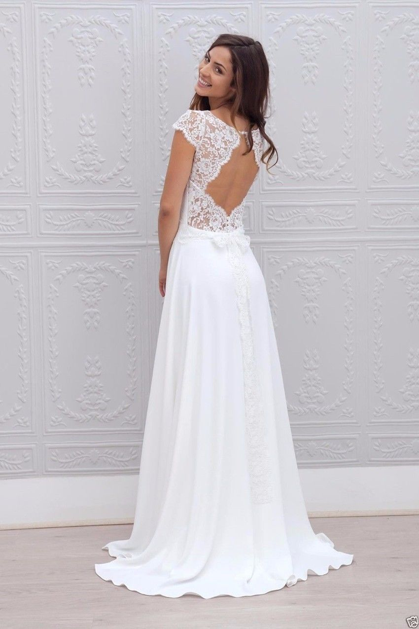 Designer beach wedding dresses  Click to Buy ucuc  Open Back Lace and Chiffon Beach Wedding Dress