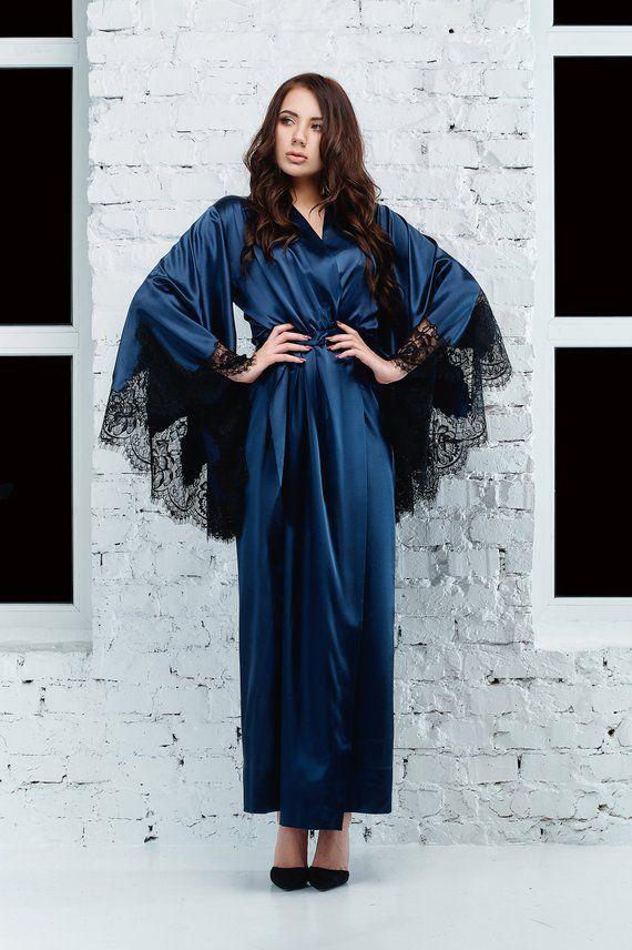 Luxury Long Silk Robe Boudoir Lace Robe Boudoir Silk Satin Robe Floor Length Women/'s Robe Silk Satin/&Lace Robe Long Kimono Robe