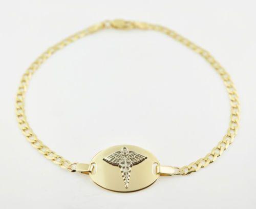New 10k Solid Gold Medical Medicalert Medic Id Alert Bracelet 7 75 Free Engrave Alert Bracelet Medic Alert Bracelets Medical Alert Jewelry