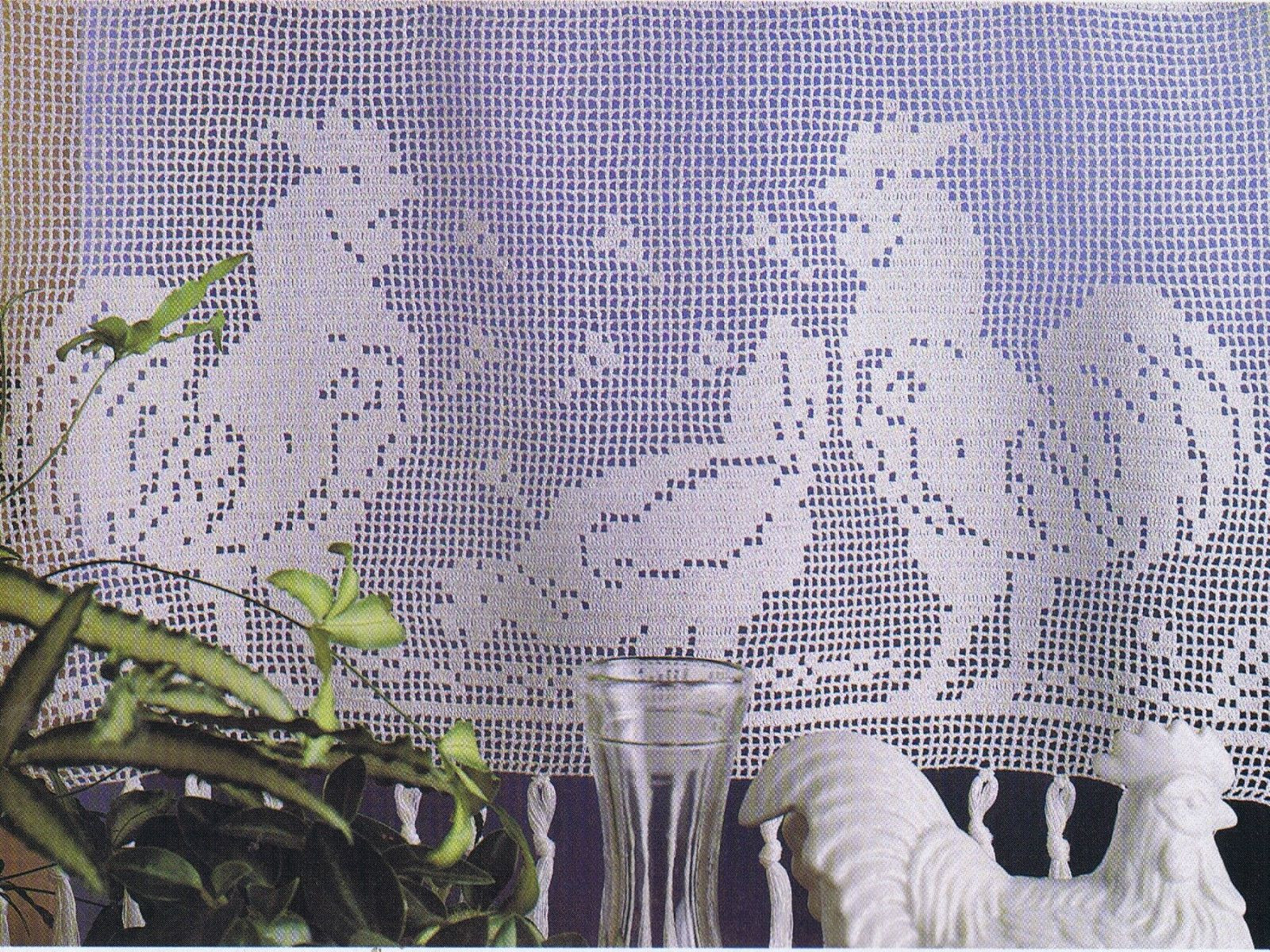 Crochet Patterns Lace Filet Curtains Pillows Tablecloth Runners ...