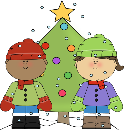 Boy And Girl With A Christmas Tree
