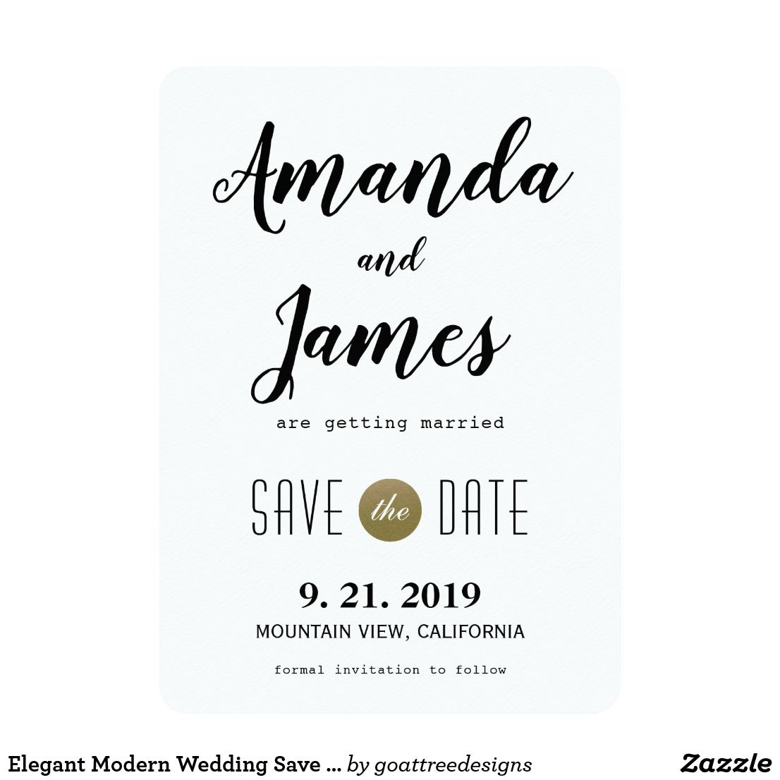 Simple Elegant White And Gold Floral Wedding Save The Date