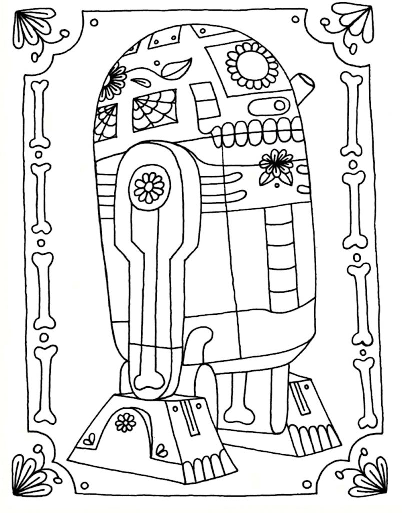R2d2 Coloring Pages Printable Star Wars Coloring Book Skull