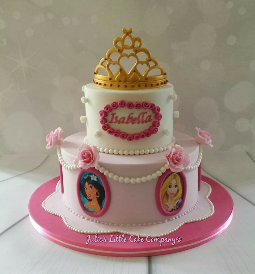 Marvelous 2 Tier Disney Princess Cake Pink And White Disney Princess Funny Birthday Cards Online Aeocydamsfinfo