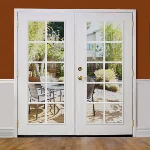 Masonite 72 In X 80 In Ultra White Steel Prehung Left Hand Inswing 10 Lite Clear Glass Patio Door In Vinyl Frame No Brickmold 27223 The Home Depot Glass Doors Patio Steel
