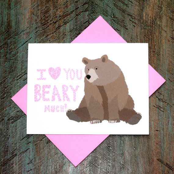 Cute Valentine I Love You / Anniversary Woodland Bear Greeting Card