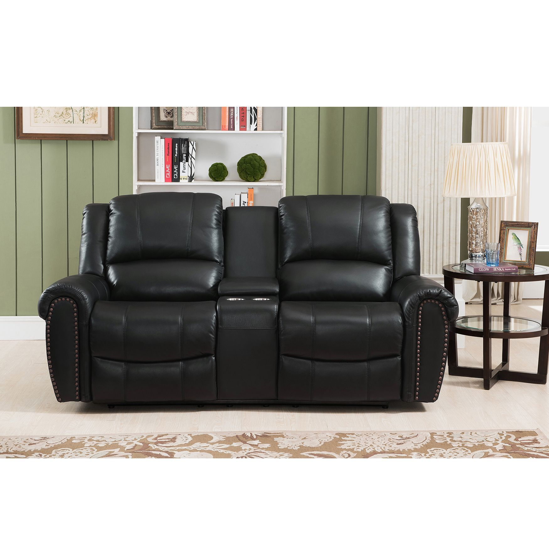 Amax Houston Top Grain Leather Reclining Loveseat With Memory Foam  ~ Crawford Top-grain Leather Reclining Sofa