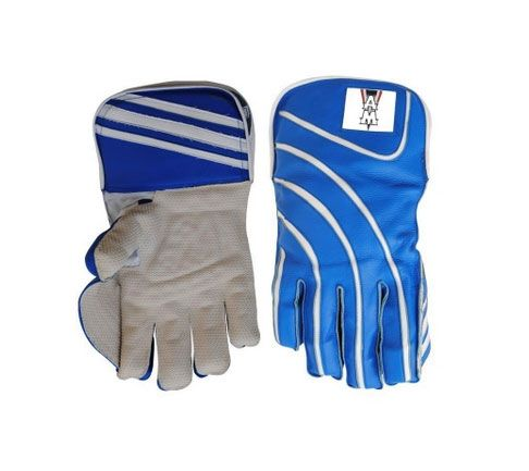 AM Blue White Cricket Gloves For Keeper