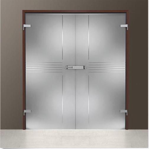 Interior Swing Glass Door Transparent Glass Curved Lines Design