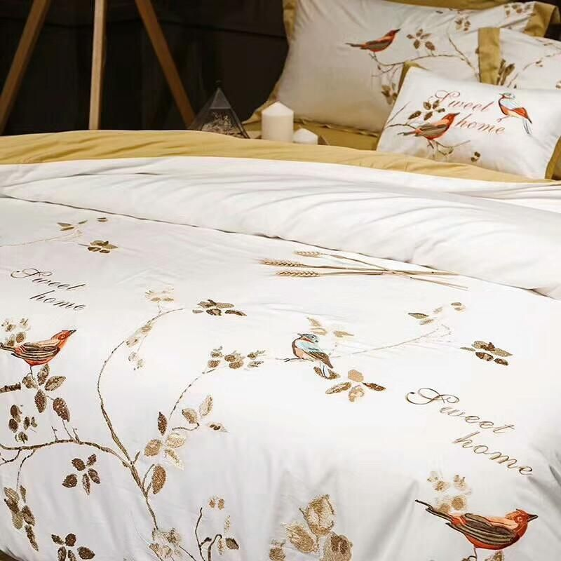 Yellow White Luxury Egyptian Cotton Oriental Bedding Sets