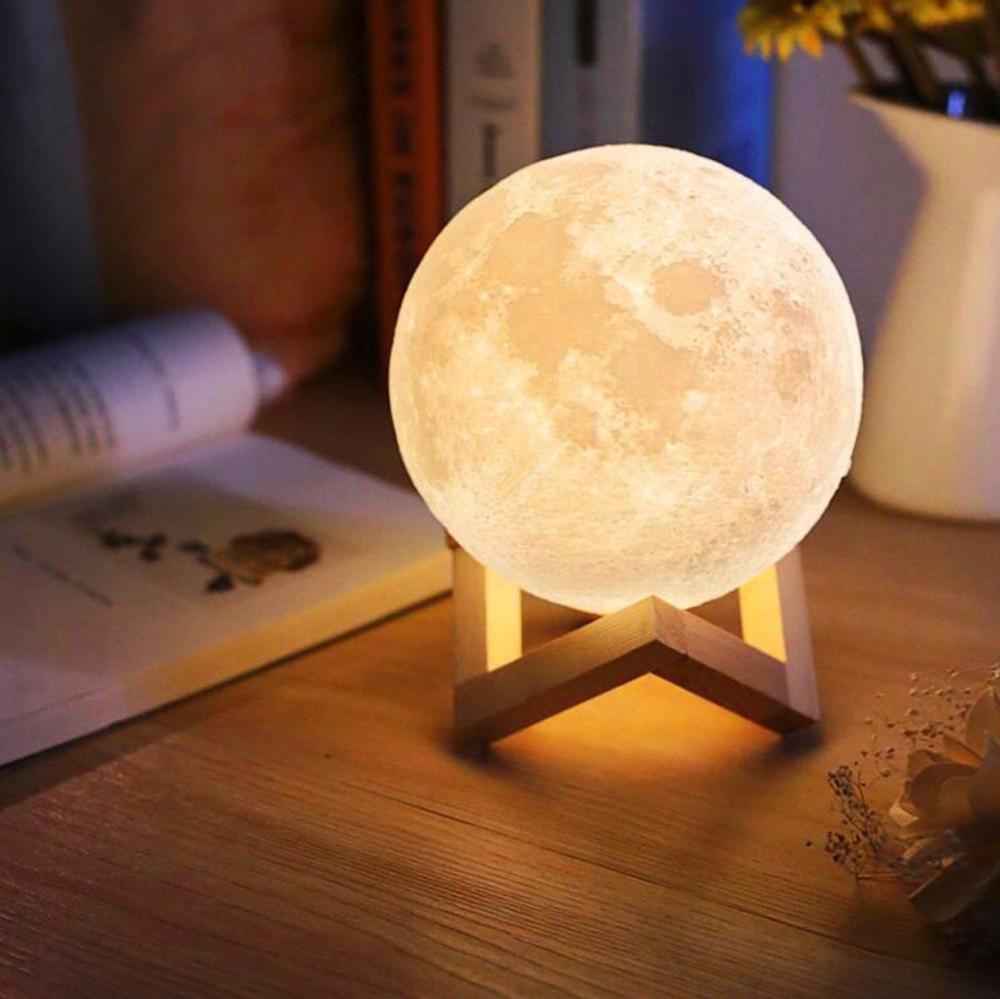 Magic 3d Moon Light Table Lamp Touch Control 15 Cm Moon Lamp Etsy