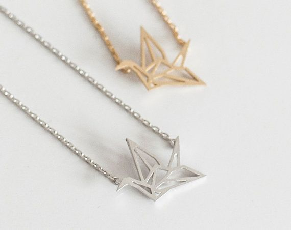 Photo of Origami Crane Necklace – Gold – Silver – Jewelry – Dogeared Necklace
