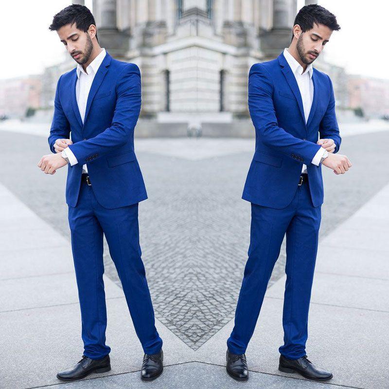 2 Piece Royal Blue Slim Fits Men Business Suits Groom Tuxedos Blazer