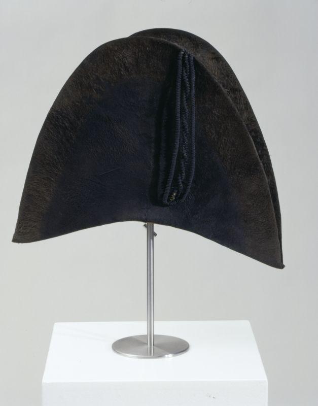 Man's bicorne, fur felt lined with silk with leather sweatband, c. 1800.