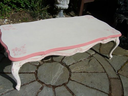 Very attractive, large, french style shabby chic coffee table. Painted with Annie Sloan Country Grey & Scandinavian Pink & and a pretty stencil design. Available to buy at Ebay for £95 & facebook.com/vintagerenovations   www.vintagerenovations.co.uk  vintagerenovations@hotmail.com