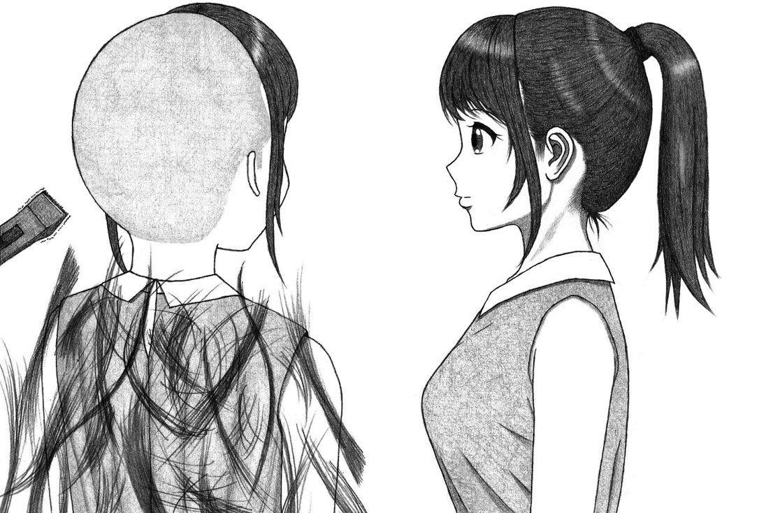 ponytail girl headshave part1 by paintyugi on DeviantArt