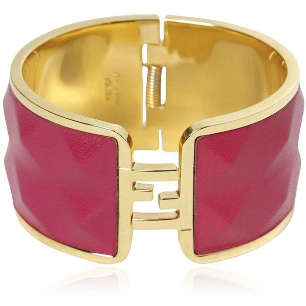 Fendi Women The Fendista Leather & Brass Bracelet ($245) ❤ liked on Polyvore featuring jewelry, bracelets, brass jewelry, fendi jewelry, leather bangles, leather jewelry and fendi bangle