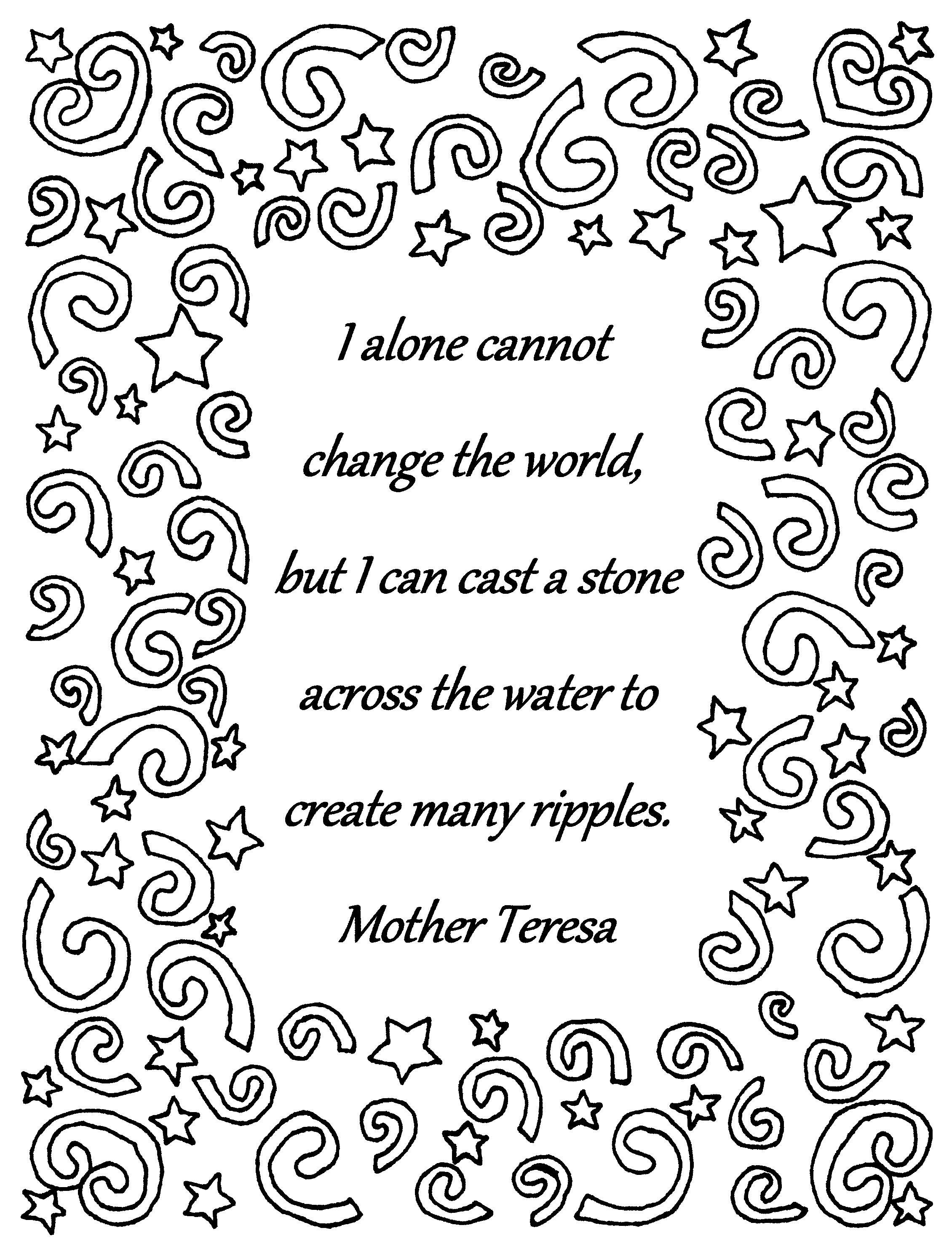 Mother Teresa Quote I Alone Cannot Coloring Page Quote