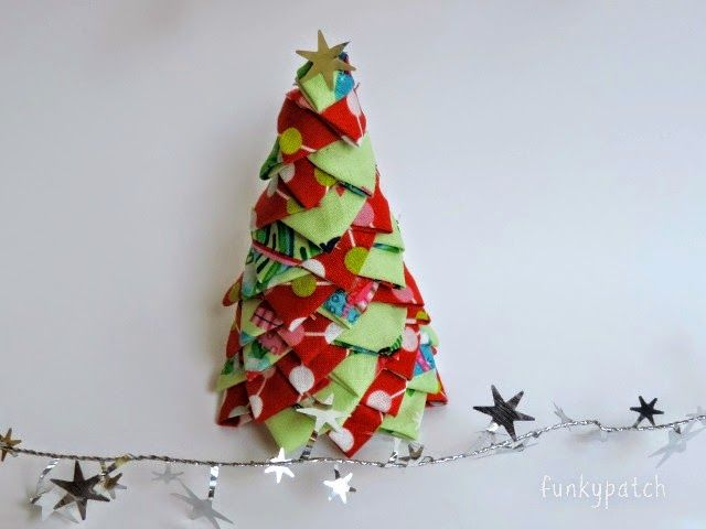 como hacer un rbol de navidad en tela sin agujas
