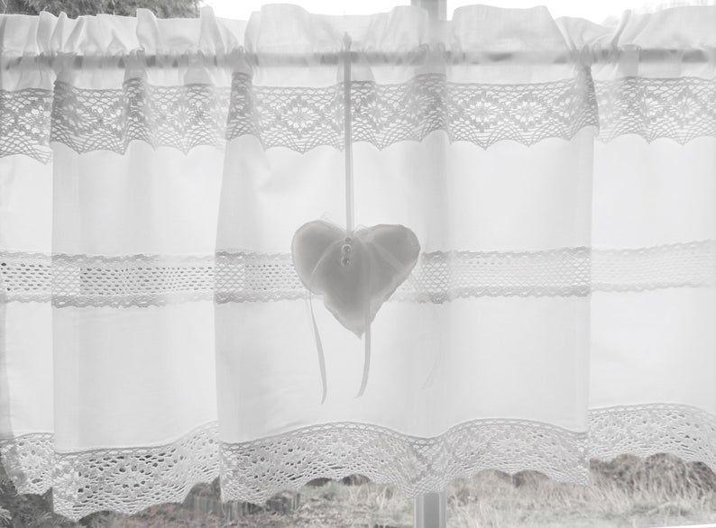 Scheibengardine Weiss Landhausgardine Skandinavischer Stil Herz Etsy In 2020 Basic Shower Curtain Printed Shower Curtain Shower Curtain