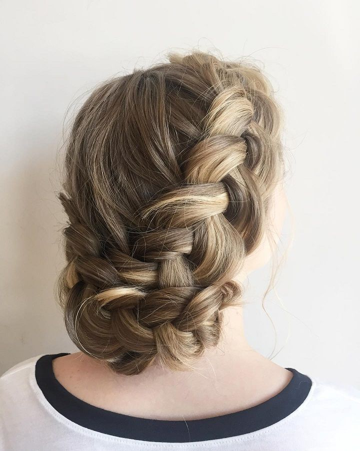 beautiful dutch braid updo wedding hairstyle for romantic
