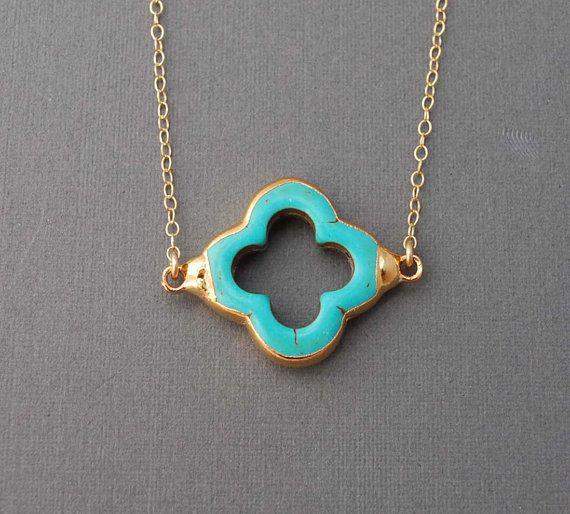 jennijewel on etsy.com- Turquoise Four Leaf Clover Gold Necklace