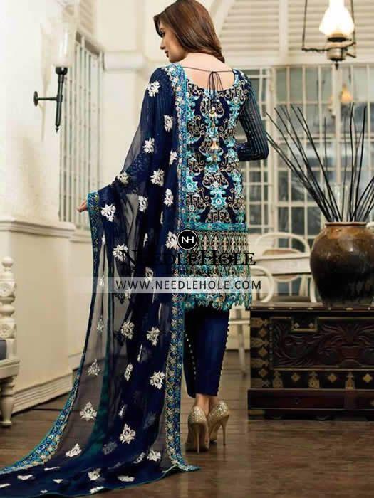 Sapphire Chiffon Dress by Nomi Ansari Chiffon Collection 2016 http://goo.gl/ZxsDhE