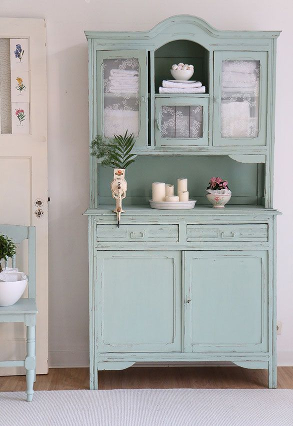 k chenbuffet in mint shabby chic schrank antiker k chenschrank country decore pinterest. Black Bedroom Furniture Sets. Home Design Ideas