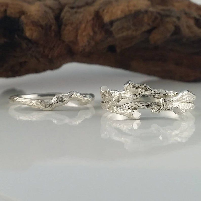 Women S Branch Wedding Band Set Twig Engagement Ring Etsy Namorados