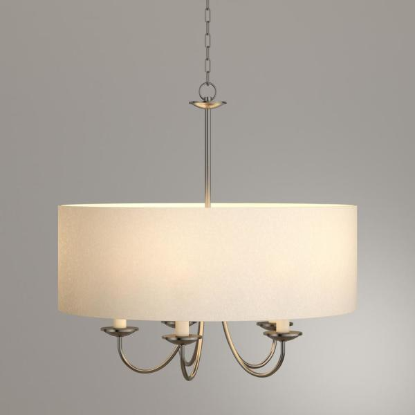 Progress Lighting 21.625 in. 5 Light Brushed Nickel Chandelier with Beige Linen Shade P4217 09 The Home Depot
