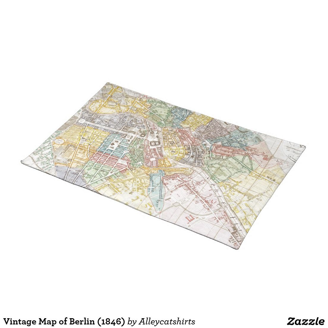 Vintage Map Of Berlin 1846 Placemat Custom Placemats Vintage Map Placemats