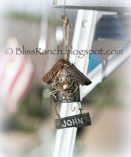 Rustic Birdhouse Ornaments - no instructions for this, but it can't be too hard to figure out.