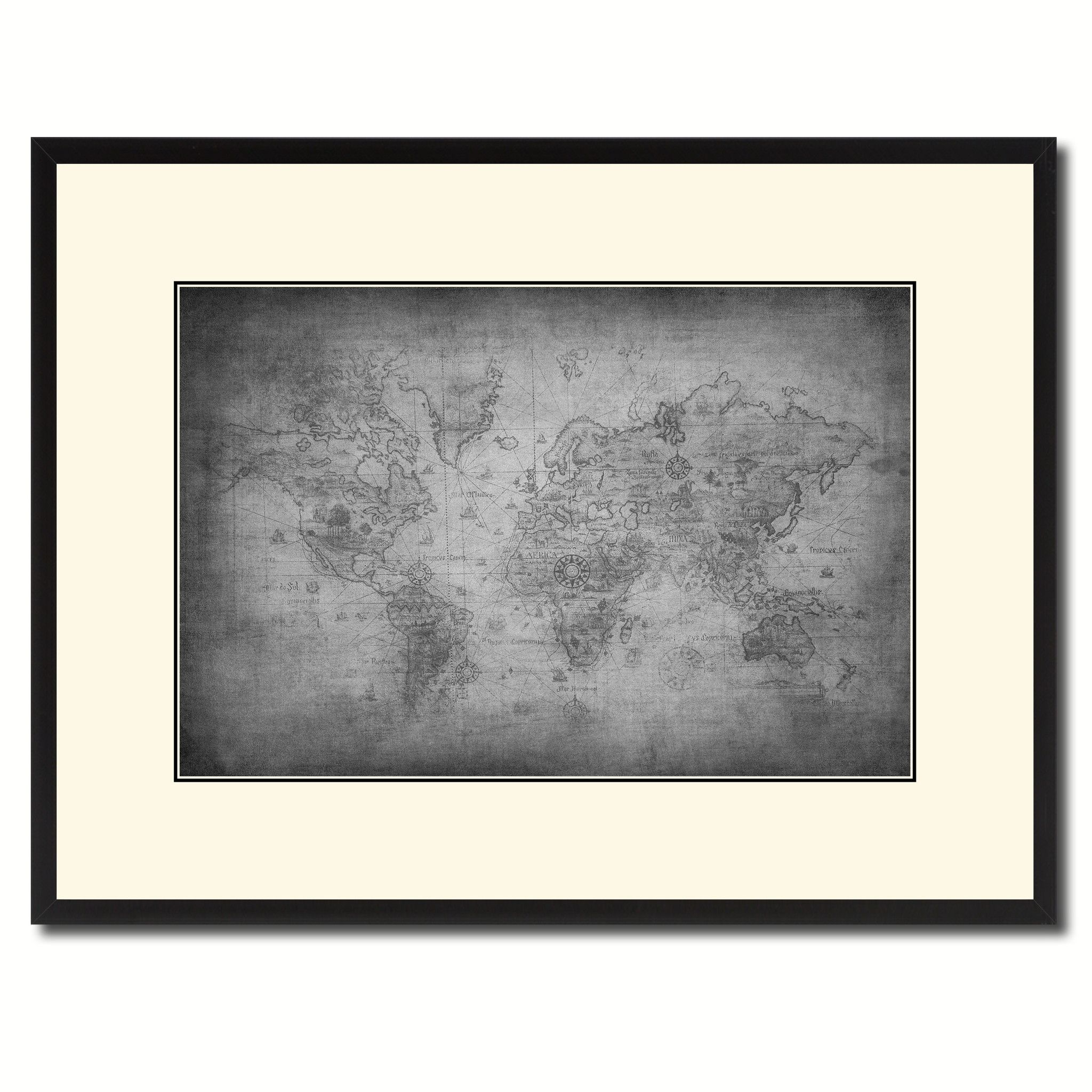 Home interiors and gifts framed art - Ancient World Vintage B W Map Canvas Print Picture Frame Home Decor Wall Art Gift Ideas