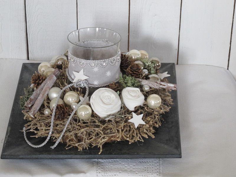 adventskranz sternenglas auf holzteller von. Black Bedroom Furniture Sets. Home Design Ideas