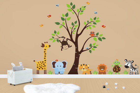 animal wall art - nursery wall decals - baby wall stickers - jungle