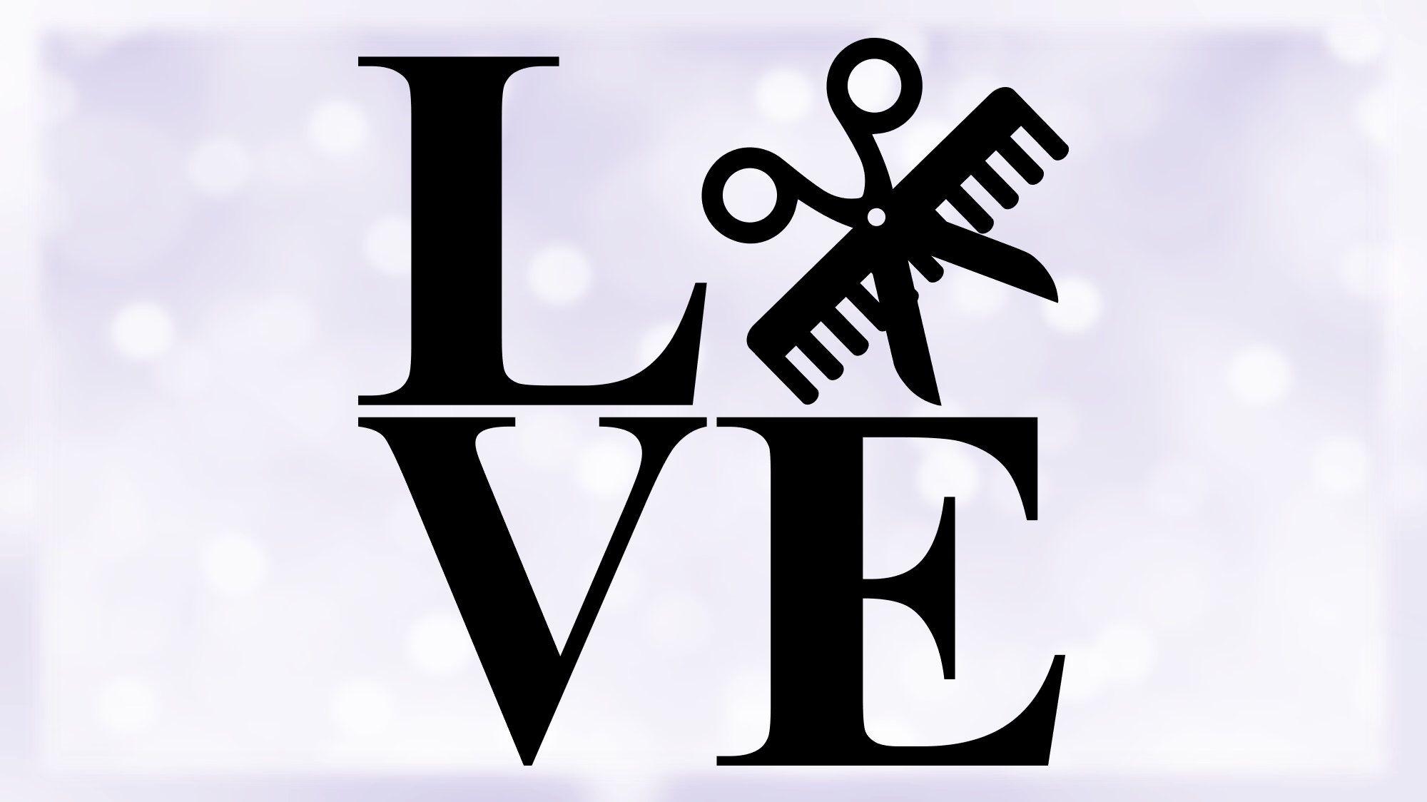 Download Hair Stylist / Beauty Salon Clipart: Word Love in | Etsy ...