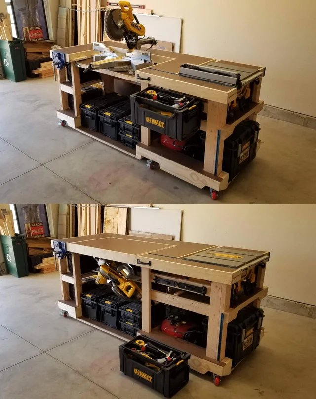 I Built This Convertible Saw Station Modular Workbench The Miter Saw Rotates Beneat In 2020 Workbench Plans Diy Woodworking Projects Furniture Woodworking Bench Plans