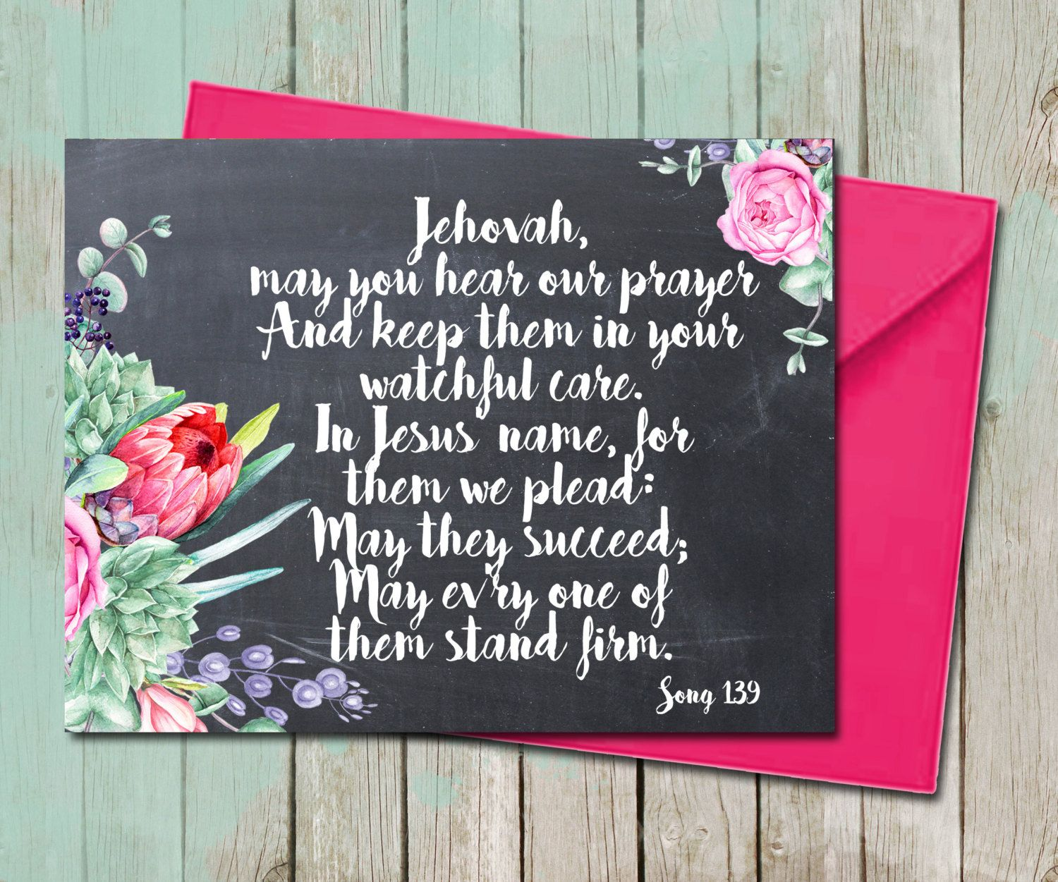 Floral succulent encouragement sympathy greeting card bible verse floral succulent encouragement sympathy greeting card bible verse song scripture calligraphy jw printable gifts ministry org kristyandbryce Images
