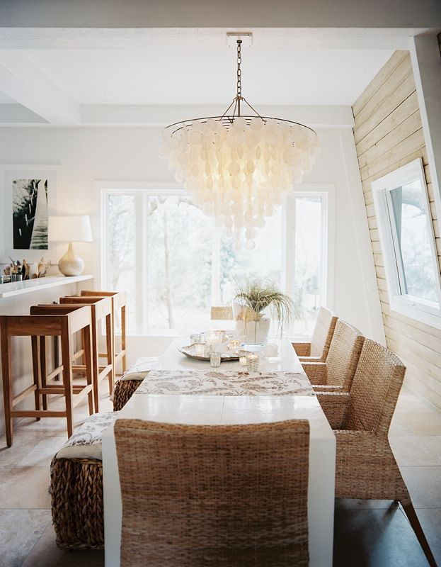 dining   woven chairs   capiz chandelier
