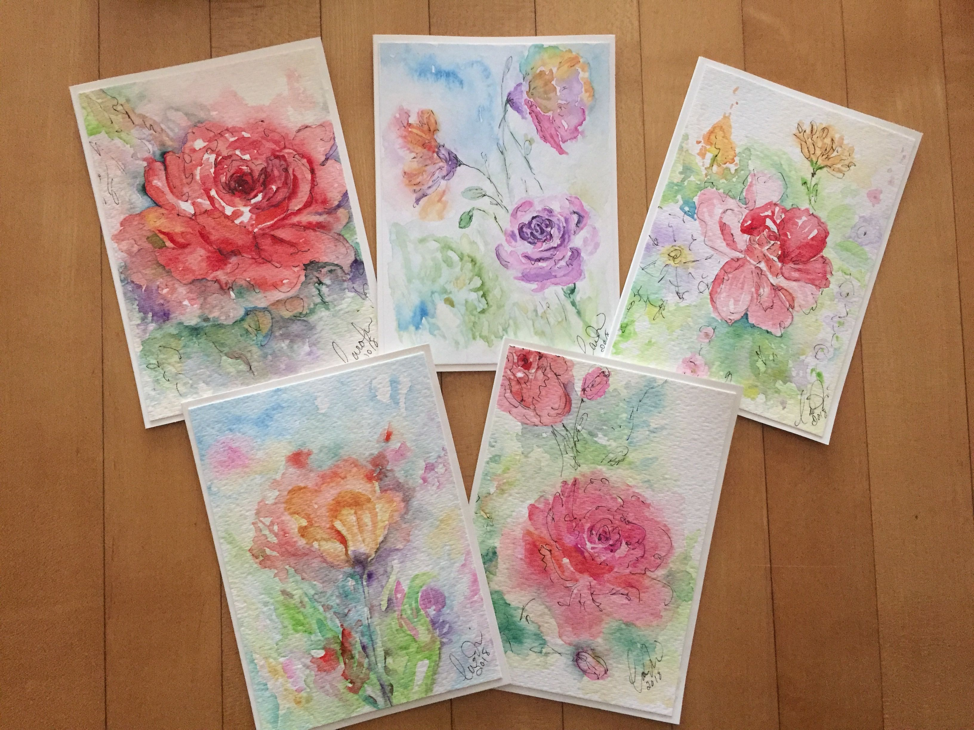 Watercolor Floral Cards Hand Painted Cards Original Watercolor