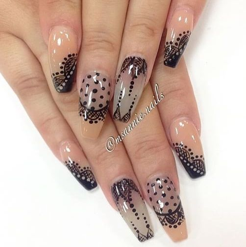 Transparent Nails With Black Overlay Patterns Nailart Coffin