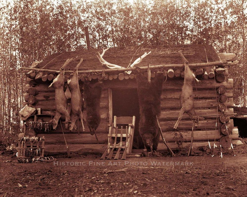 HUNTER TRAPPER TRADER CABIN PHOTO FRONTIERSMAN PIONEER OLD WEST 1890 #21294