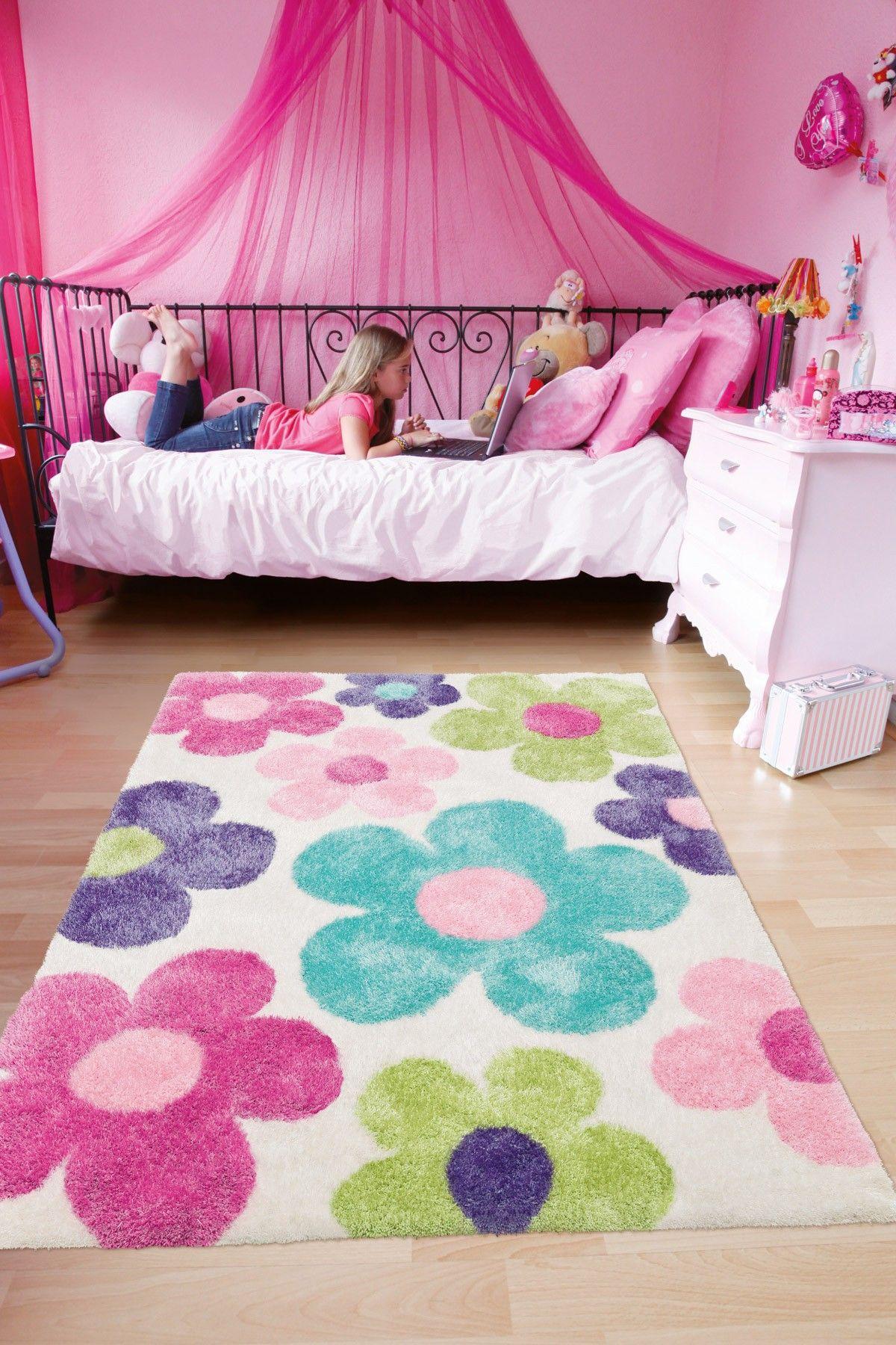 Handgemaakt hoogpolig meisjeskamer vloerkleed met pastelbloemen kinderkamer vloerkleden - Gordijnen meid ...