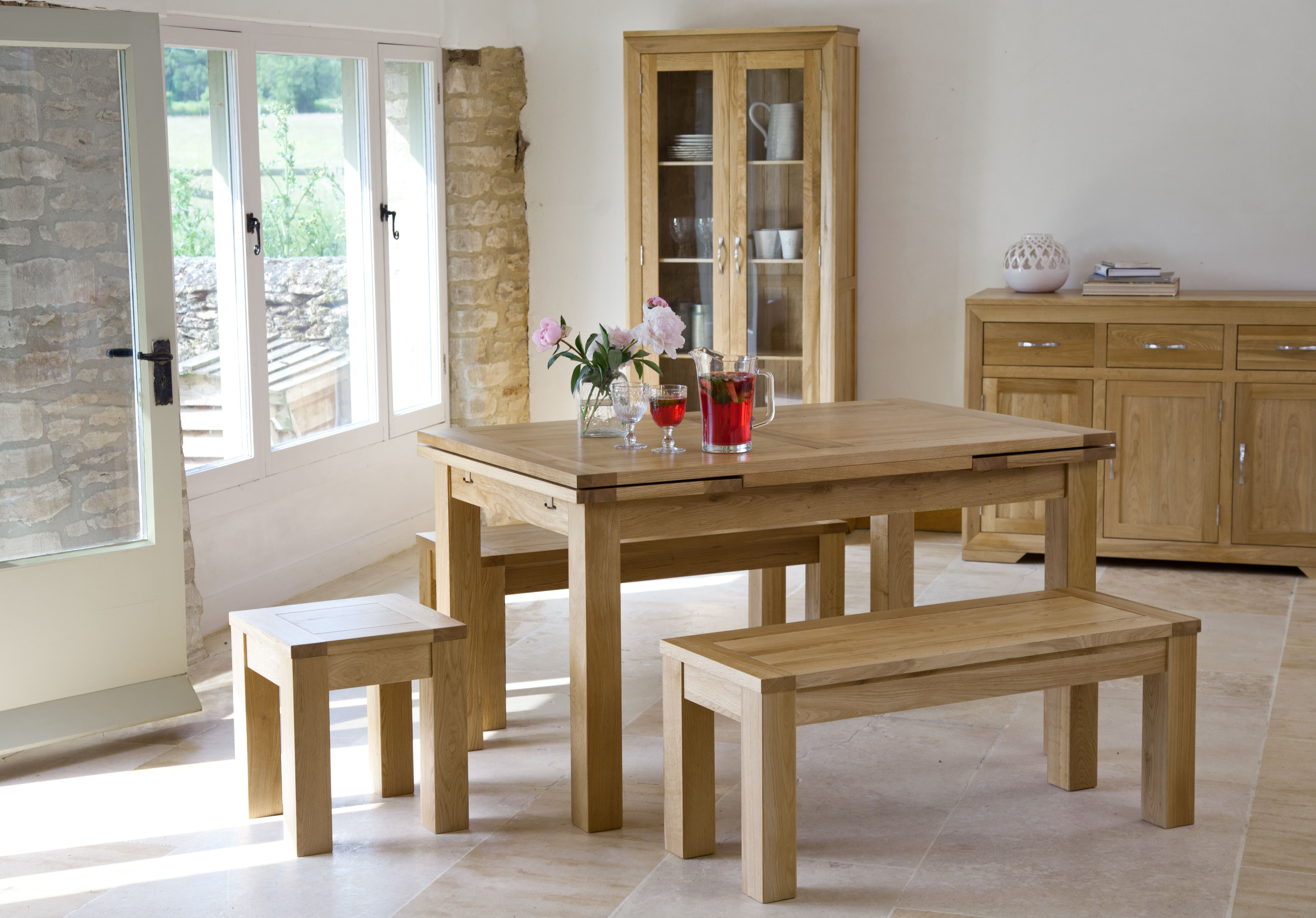 Oak Furniture Living Room Bevel Solid Oak Range Dining Furniture Oak Table Bench Set
