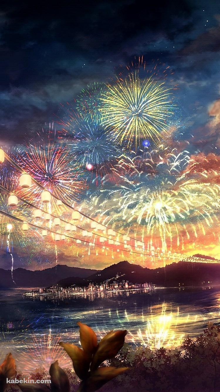夏祭りの花火のiphone壁紙 夏 風景 夏 絵 夏イラスト