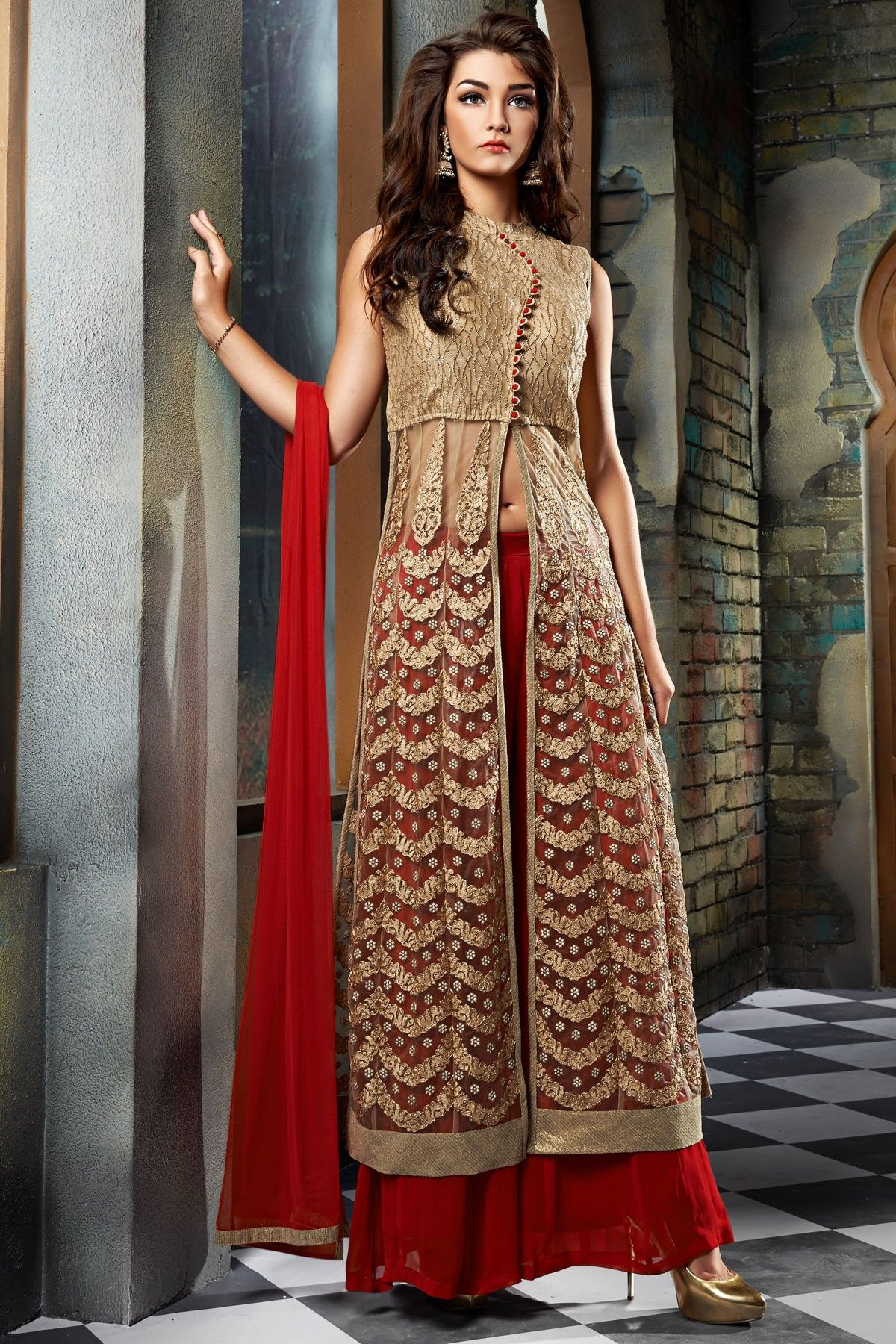 Gold net embroidered exquisite kameez with closed neck & high neck ...