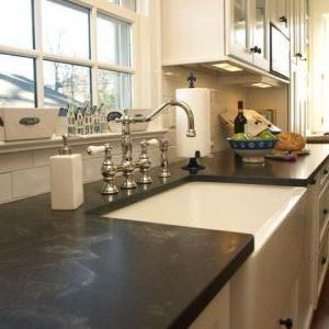 Newark Honed Black Granite Countertops With Transitional Lotion And