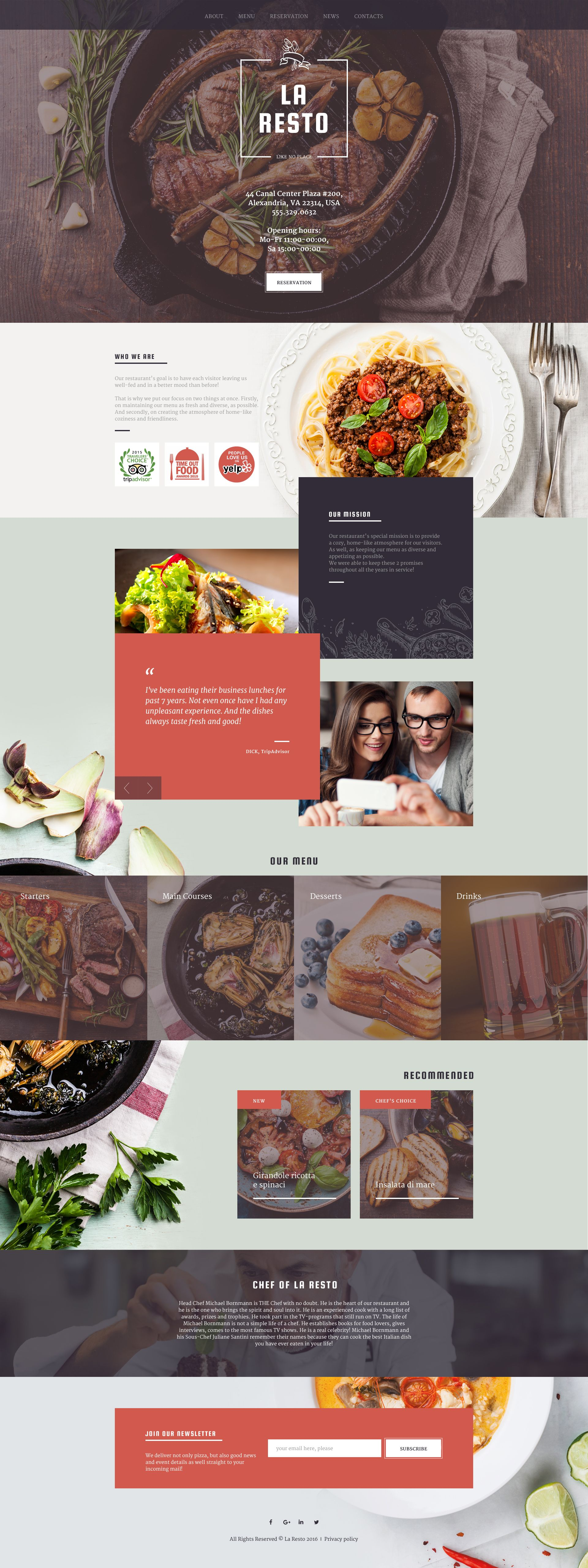 cafe and restaurant responsive website template cafes template